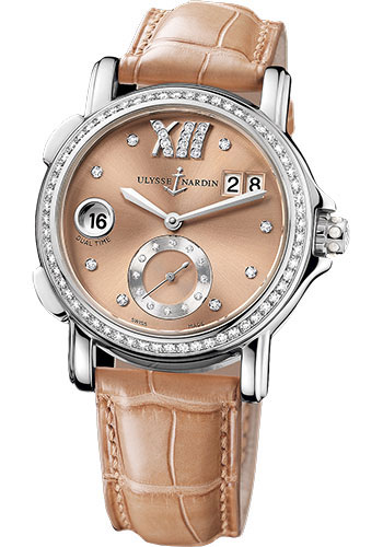 Ulysse Nardin Watches - Classic Dual Time Lady Stainless Steel - Diamond Bezel - Leather Strap - Style No: 243-22B/30-09