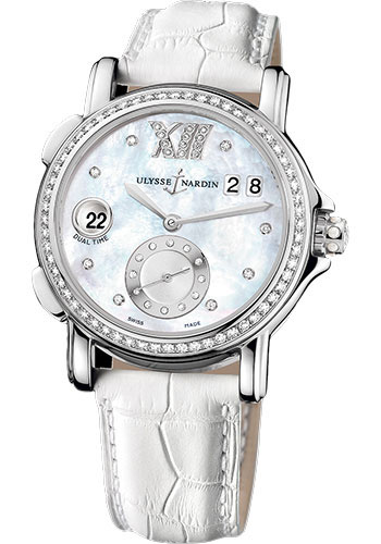Ulysse Nardin Watches - Classic Dual Time Lady Stainless Steel - Diamond Bezel - Leather Strap - Style No: 243-22B/391