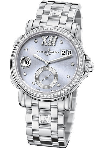 Ulysse Nardin Watches - Classic Dual Time Lady Stainless Steel - Diamond Bezel - Bracelet - Style No: 243-22B-7/30-07