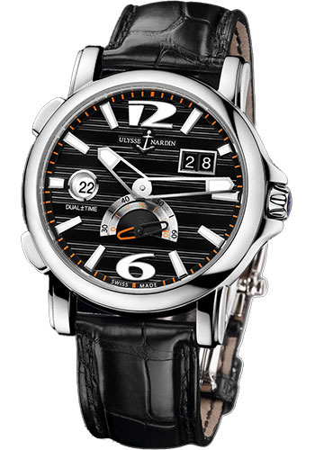 Ulysse Nardin Watches - Classic Dual Time 42mm - Stainless Steel - Leather Strap - Style No: 243-55/62