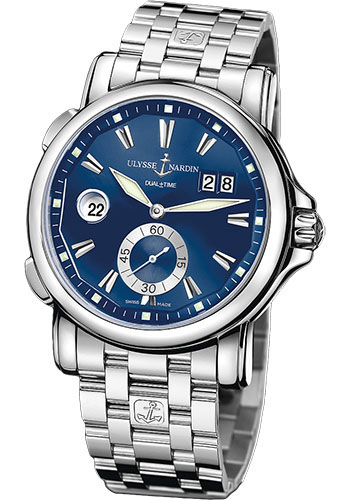 Ulysse Nardin Watches - Classic Dual Time 42mm - Stainless Steel - Bracelet - Style No: 243-55-7/93