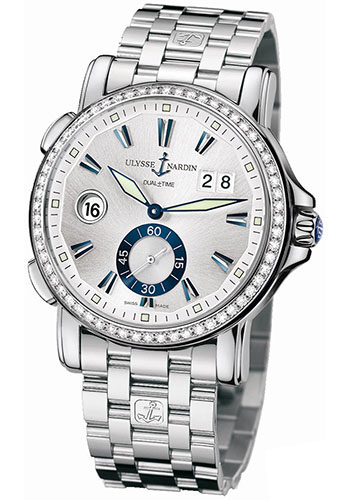 Ulysse Nardin Watches - Classic Dual Time 42mm - Stainless Steel - Diamond Bezel - Bracelet - Style No: 243-55B-7/91