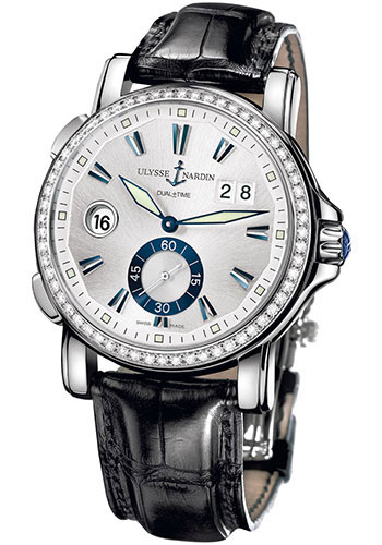 Ulysse Nardin Watches - Classic Dual Time 42mm - Stainless Steel - Diamond Bezel - Strap - Style No: 243-55B/91