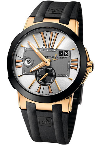 Ulysse Nardin Watches - Executive Dual Time Rose Gold - Ceramic Bezel - Rubber Strap - Style No: 246-00-3/421