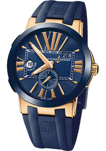 Ulysse Nardin Watches - Executive Dual Time Rose Gold - Ceramic Bezel - Rubber Strap - Style No: 246-00-3/43