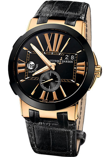 Ulysse Nardin Watches - Executive Dual Time Rose Gold - Ceramic Bezel - Leather Strap - Style No: 246-00/42