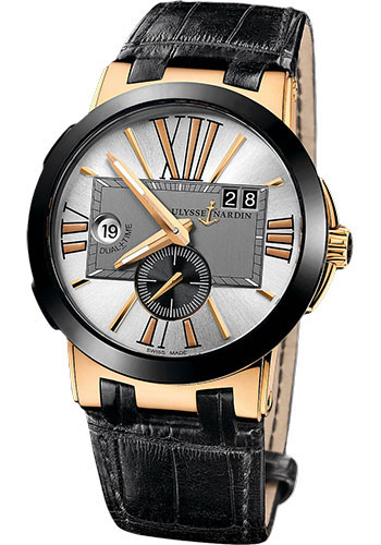 Ulysse Nardin Watches - Executive Dual Time Rose Gold - Ceramic Bezel - Leather Strap - Style No: 246-00/421