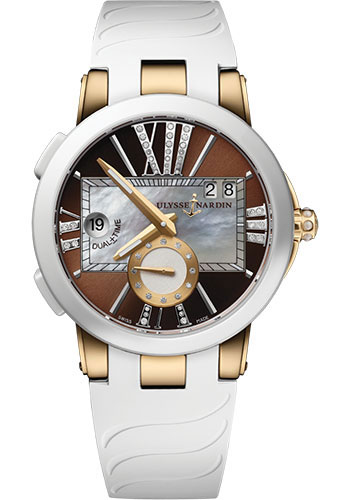 Ulysse Nardin Watches - Executive Dual Time Lady Rose Gold - Ceramic Bezel - Rubber Strap - Style No: 246-10-3/30-05