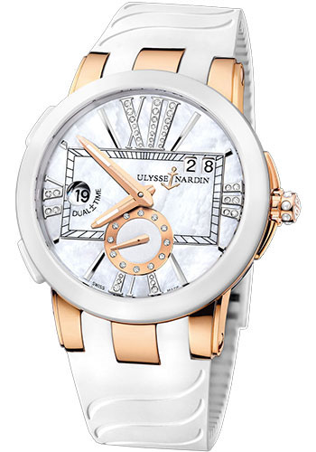 Ulysse Nardin Watches - Executive Dual Time Lady Rose Gold - Ceramic Bezel - Rubber Strap - Style No: 246-10-3/391