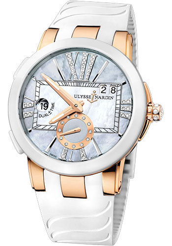 Ulysse Nardin Watches - Executive Dual Time Lady Rose Gold - Ceramic Bezel - Rubber Strap - Style No: 246-10-3/392