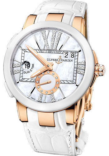 Ulysse Nardin Watches - Executive Dual Time Lady Rose Gold - Ceramic Bezel - Leather Strap - Style No: 246-10/391
