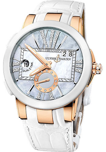Ulysse Nardin Watches - Executive Lady Rose Gold - Ceramic Bezel - Leather Strap - Style No: 246-10/392
