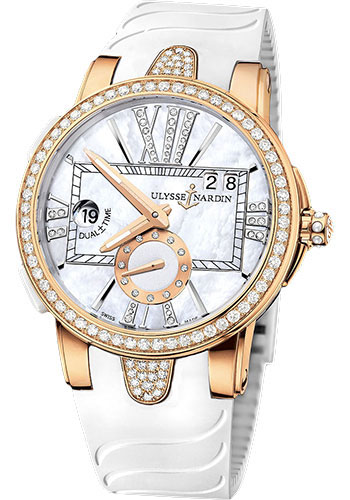 Ulysse Nardin Watches - Executive Lady Rose Gold - Diamond Bezel - Rubber Strap - Style No: 246-10B-3C/391