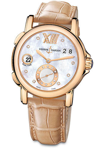 Ulysse Nardin Watches - Classic Dual Time Lady Rose Gold - Leather Strap - Style No: 246-22/391