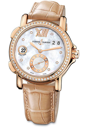 Ulysse Nardin Watches - Classic Dual Time Lady Rose Gold - Diamond Bezel - Leather Strap - Style No: 246-22B/391