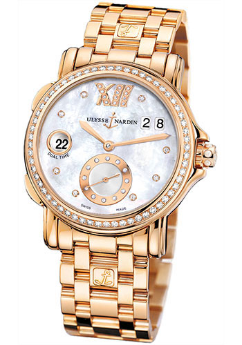 Ulysse Nardin Watches - Classic Dual Time Lady Rose Gold - Diamond Bezel - Bracelet - Style No: 246-22B-8/391