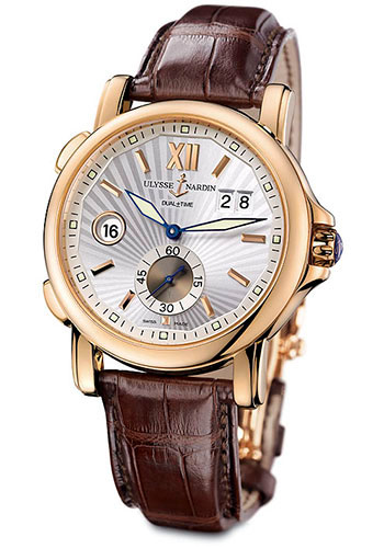 Ulysse Nardin Watches - Classic Dual Time 42mm - Rose Gold - Leather Strap - Style No: 246-55/31