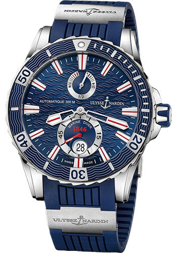 Ulysse Nardin Watches - Marine Diver 44mm - Stainless Steel - Rubber Strap - Style No: 263-10-3/93