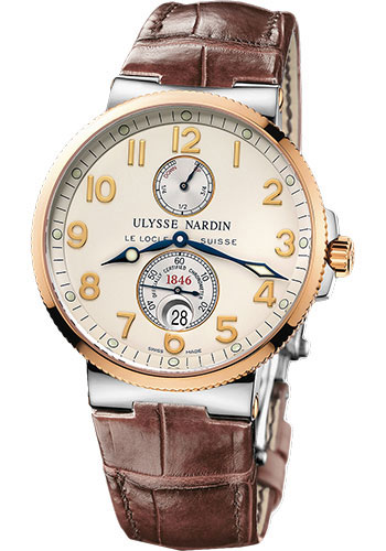 Ulysse Nardin Watches - Marine Chronometer 41mm - Steel and Gold - Leather Strap - Style No: 265-66/60