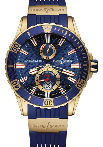 Ulysse Nardin Watches - Diver Chronometer 44mm - Rose Gold - Rubber Strap - Style No: 266-10-3/93