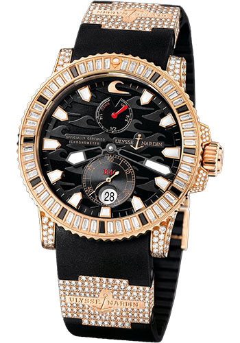 Ulysse Nardin Watches - Marine Diver 45mm - Rose Gold - Diamond Bezel - Rubber Strap - Style No: 266-31LE-3F