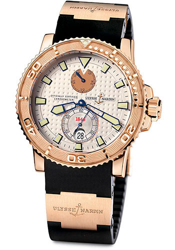 Ulysse Nardin Watches - Marine Diver 42.7mm - Rose Gold - Rubber Strap - Style No: 266-33-3A/90