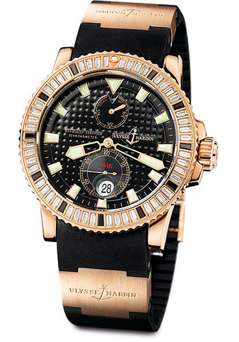 Ulysse Nardin Watches - Marine Diver 42.7mm - Rose Gold - Diamond Bezel - Rubber Strap - Style No: 266-34BAG-3A/92
