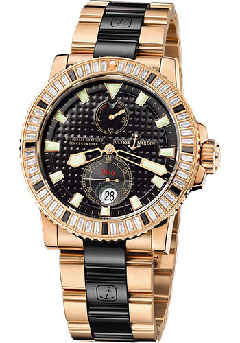 Ulysse Nardin Watches - Marine Diver 42.7mm - Rose Gold - Diamond Bezel - Bracelet - Style No: 266-34BAG-8C/92