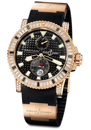 Ulysse Nardin Watches - Marine Diver 42.7mm - Rose Gold - Diamond Bezel - Rubber Strap - Style No: 266-34C/BAG-3A/92