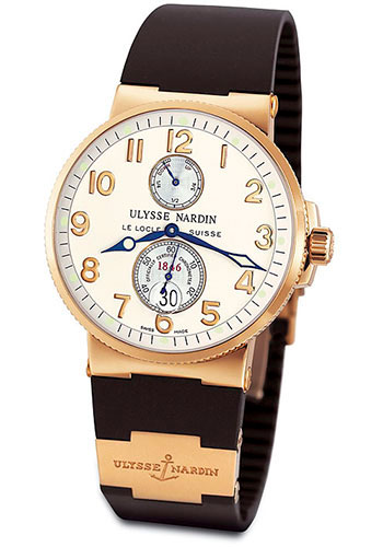 Ulysse Nardin Watches - Marine Chronometer 41mm - Rose Gold - Rubber Strap - Style No: 266-66-3