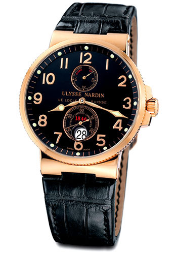 Ulysse Nardin Watches - Marine Chronometer 41mm - Rose Gold - Leather Strap - Style No: 266-66/62
