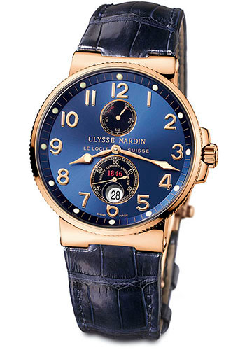 Ulysse Nardin Watches - Marine Chronometer 41mm - Rose Gold - Leather Strap - Style No: 266-66/623
