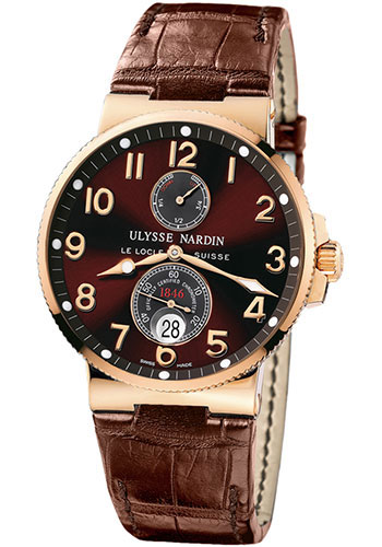 Ulysse Nardin Watches - Marine Chronometer 41mm - Rose Gold - Leather Strap - Style No: 266-66/625