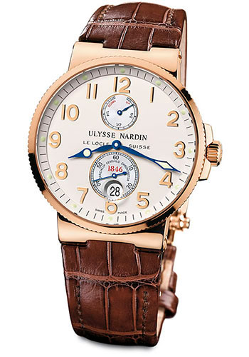 Ulysse Nardin Watches - Marine Chronometer 41mm - Rose Gold - Leather Strap - Style No: 266-66