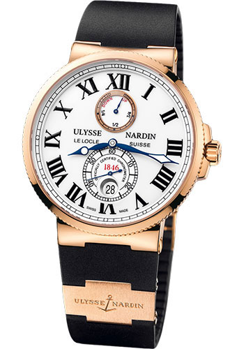 Ulysse Nardin Watches - Marine Chronometer 43mm - Rose Gold - Rubber Strap - Style No: 266-67-3/40