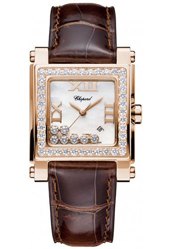 Chopard Watches - Happy Sport Square Medium Rose Gold - Style No: 275321-5002