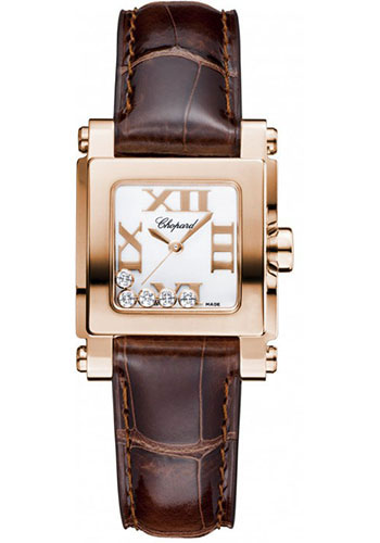 Chopard Watches - Happy Sport Square Mini Rose Gold - Style No: 275349-5001