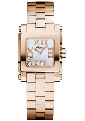 Chopard Watches - Happy Sport Square Mini Rose Gold - Style No: 275349-5002