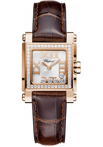 Chopard Watches - Happy Sport Square Mini Rose Gold - Style No: 275349-5003