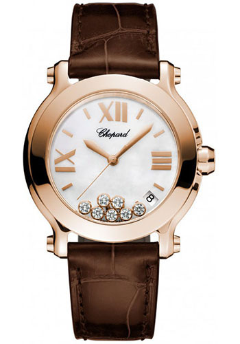 Chopard Watches - Happy Sport Round Medium Rose Gold - Style No: 277471-5002