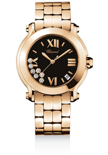 Chopard Watches - Happy Sport Round Medium Rose Gold - Style No: 277472-5001