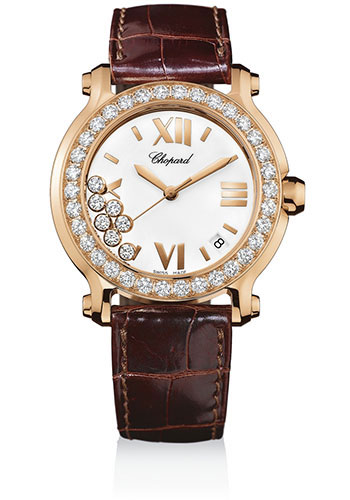 Chopard Watches - Happy Sport Round Medium Rose Gold - Style No: 277473-5001