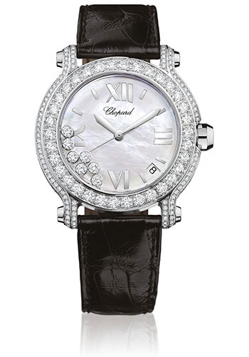 Chopard Watches - Happy Sport Round Medium White Gold - Style No: 277480-1001