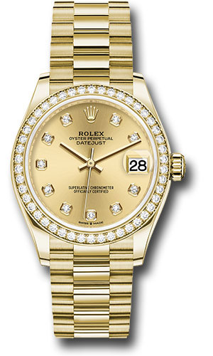 Rolex Watches - Datejust 31 Yellow Gold - Diamond Bezel - President - Style No: 278288RBR chdp