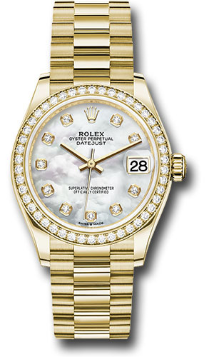 Rolex Watches - Datejust 31 Yellow Gold - Diamond Bezel - President - Style No: 278288RBR mdp