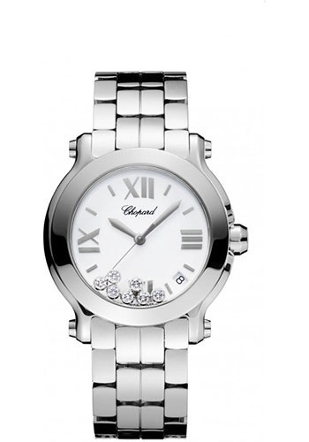 Chopard Watches - Happy Sport Round Medium Stainless Steel - Style No: 278477-3001