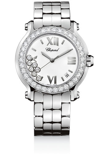 Chopard Watches - Happy Sport Round Medium Steel and White Gold - Style No: 278478-2001