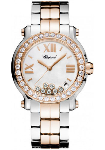 Chopard Watches - Happy Sport Round Medium Steel and Gold - Style No: 278488-6001