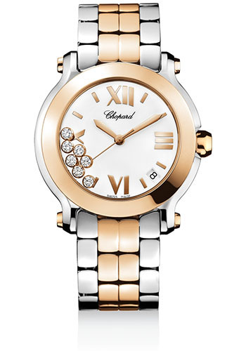 Chopard Watches - Happy Sport Round Medium Steel and Gold - Style No: 278488-9001