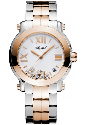 Chopard Watches - Happy Sport Round Medium Steel and Gold - Style No: 278488-9002